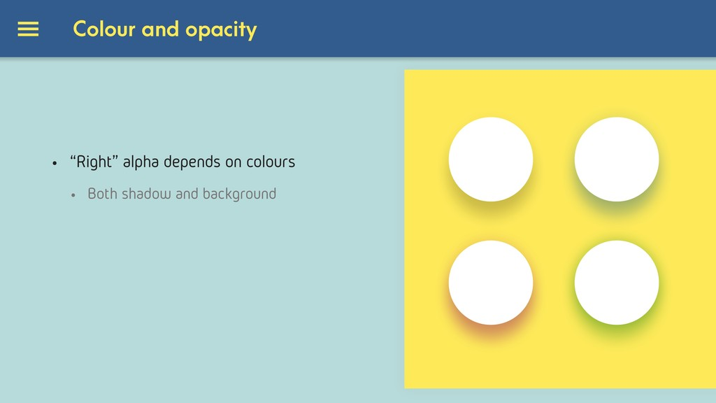 "Colour and opacity • ""Right"" alpha depends on c..."
