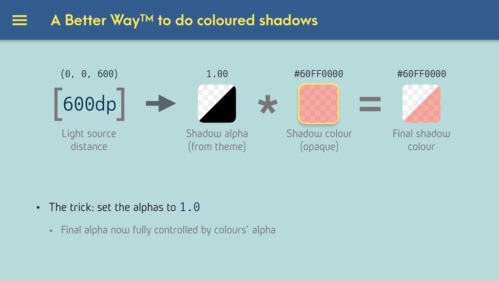 A Better WayTM to do coloured shadows [ ] 600dp...