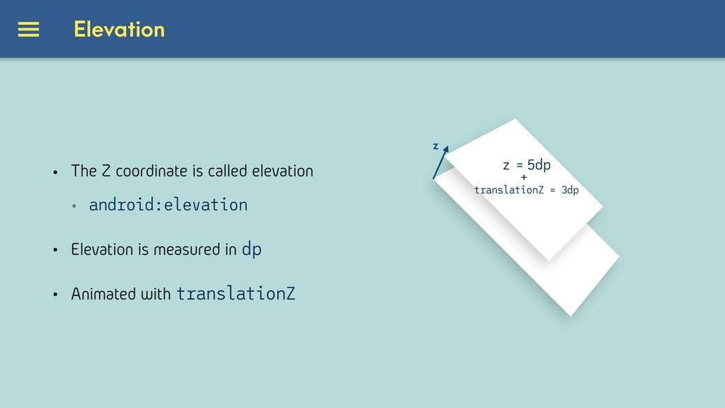 Elevation z z = 5dp translationZ = 3dp + • The ...