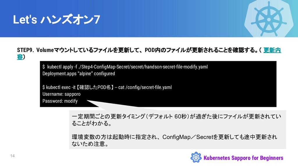 Kubernetes Sapporo for Beginners Let's ハンズオン7 S...