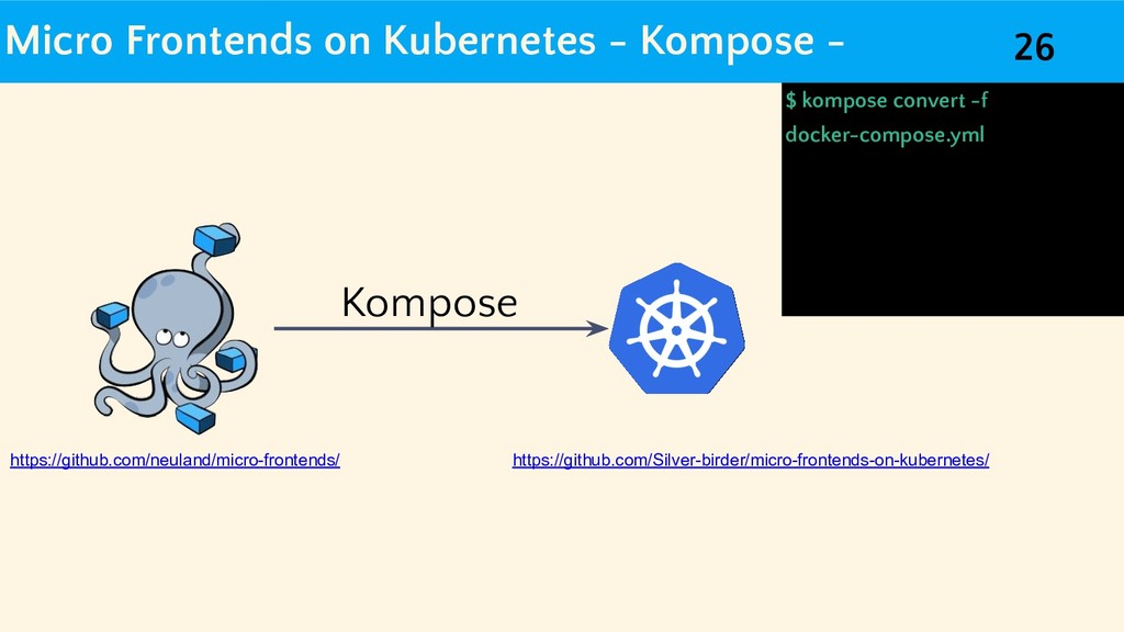 Micro Frontends on Kubernetes - Kompose - $ kom...