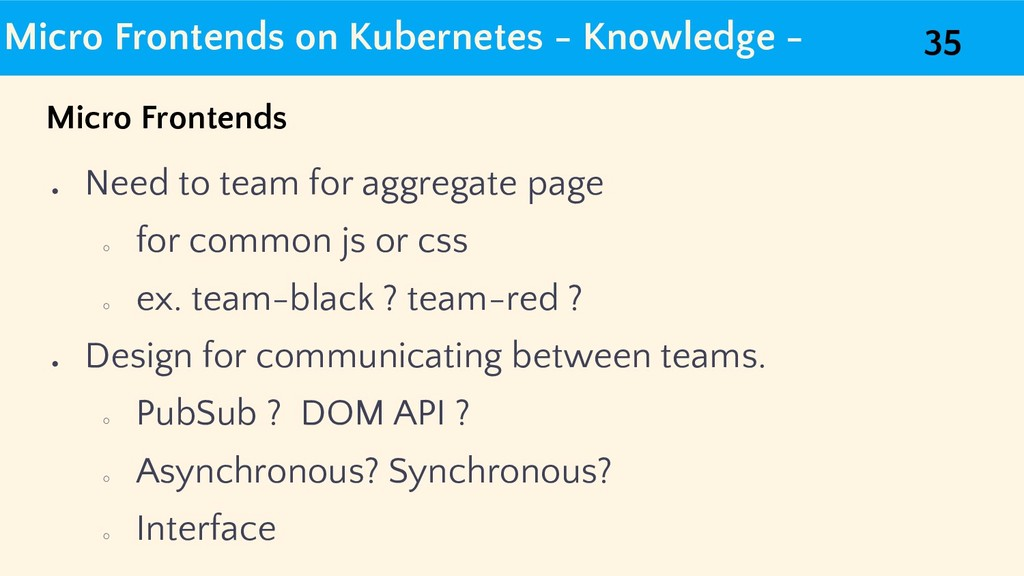 Micro Frontends on Kubernetes - Knowledge - ● N...