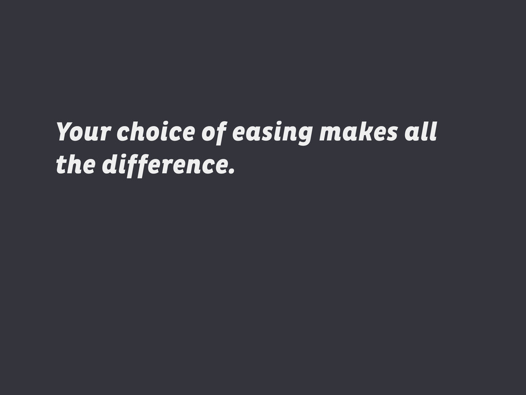 Your choice of easing makes all the difference....