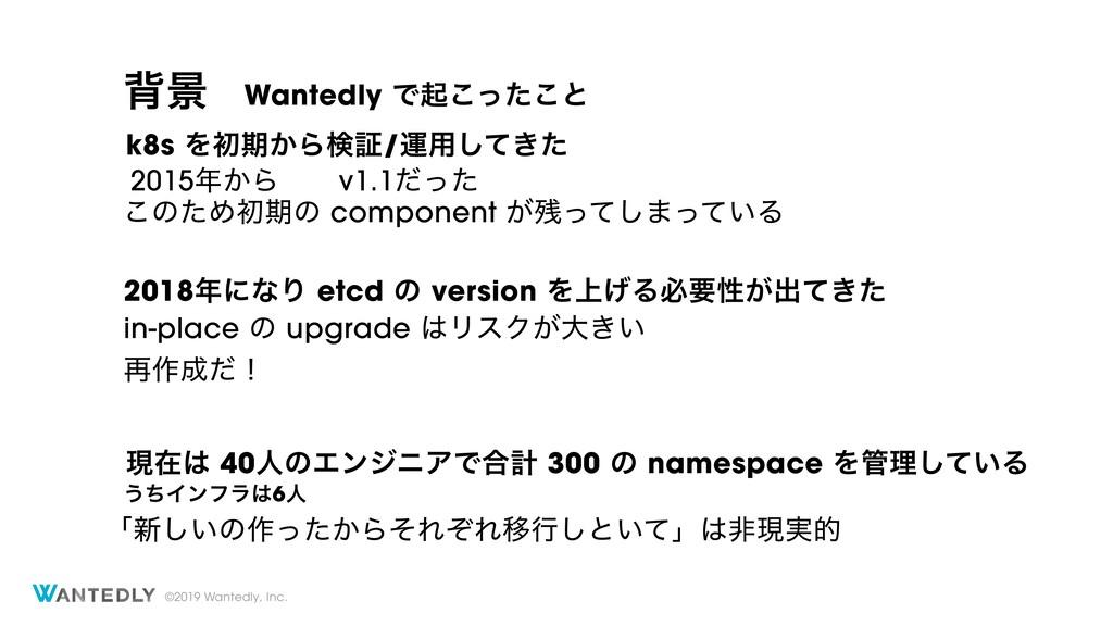 ©2019 Wantedly, Inc. എܠ 2018ʹͳΓ etcd ͷ version...