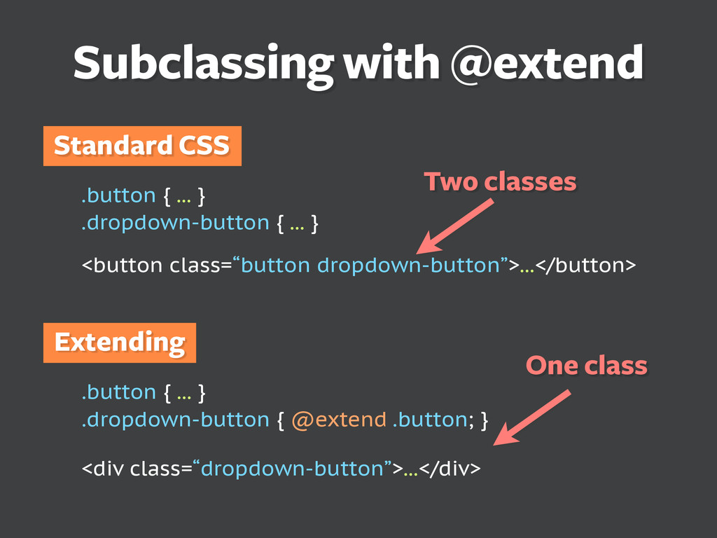 Subclassing with @extend .button { ... } .dropd...