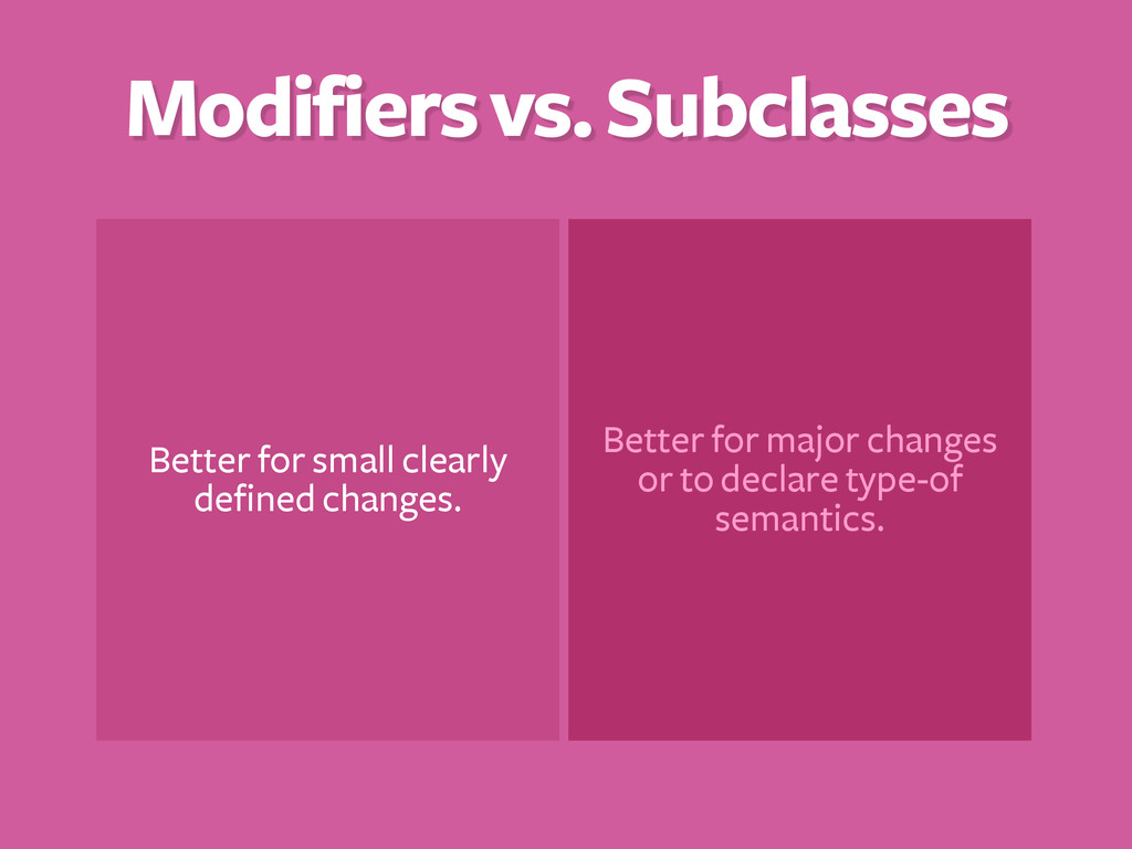 Modifiers vs. Subclasses Better for small clear...