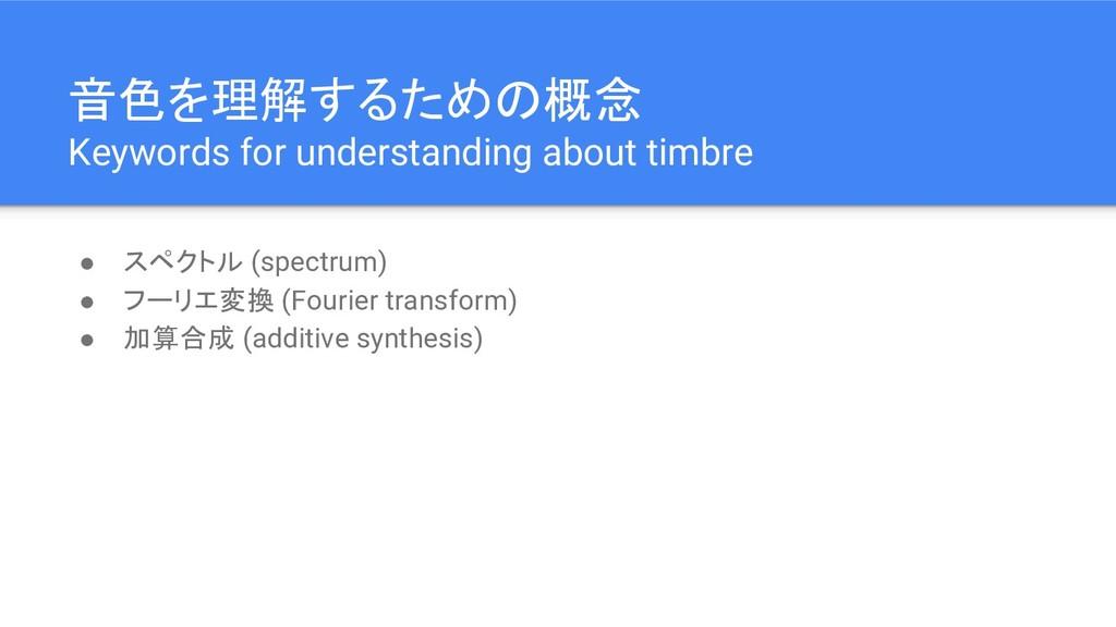 音色を理解するための概念 Keywords for understanding about t...