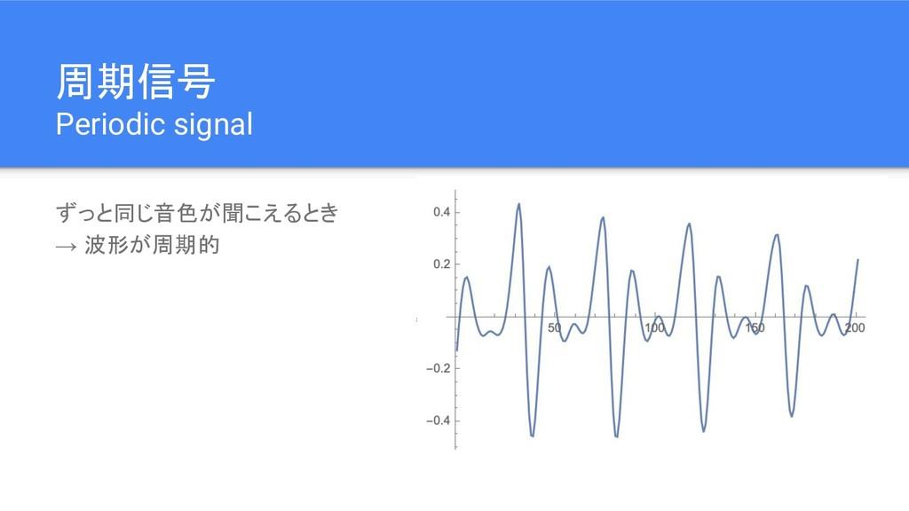 周期信号 Periodic signal ずっと同じ音色が聞こえるとき → 波形が周期的
