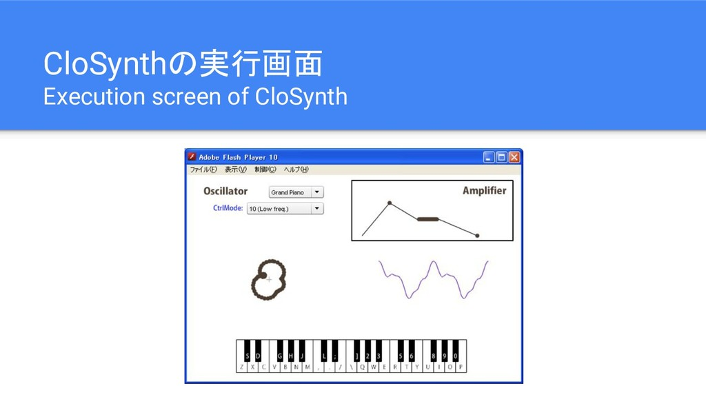 CloSynthの実行画面 Execution screen of CloSynth