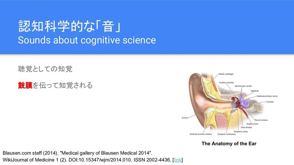 認知科学的な「音」 Sounds about cognitive science 聴覚としての...