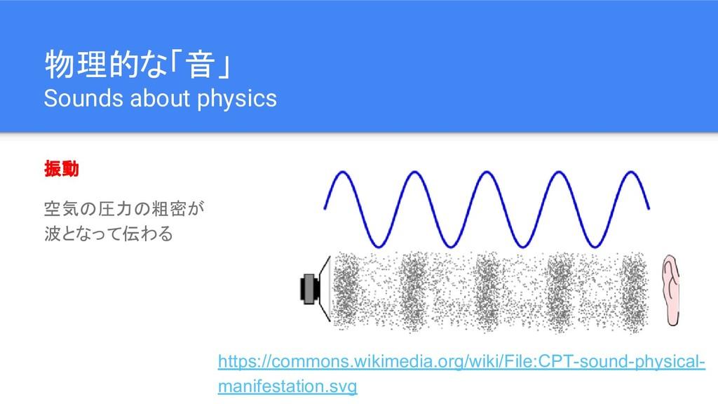 物理的な「音」 Sounds about physics 振動 空気の圧力の粗密が 波となって...