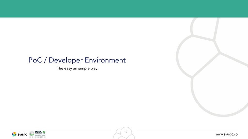 www.elastic.co 17 PoC / Developer Environment T...