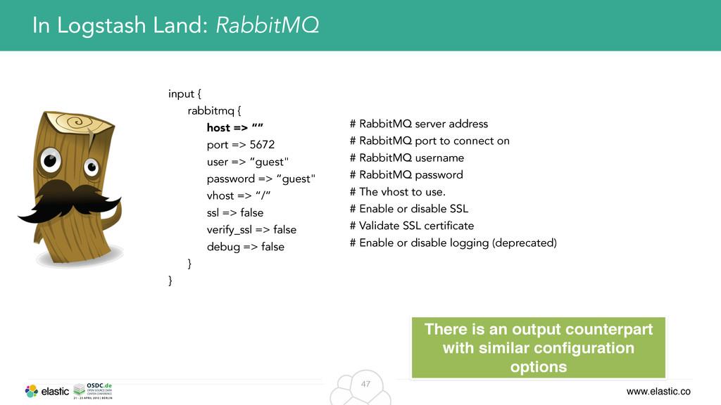 www.elastic.co 47 In Logstash Land: RabbitMQ in...