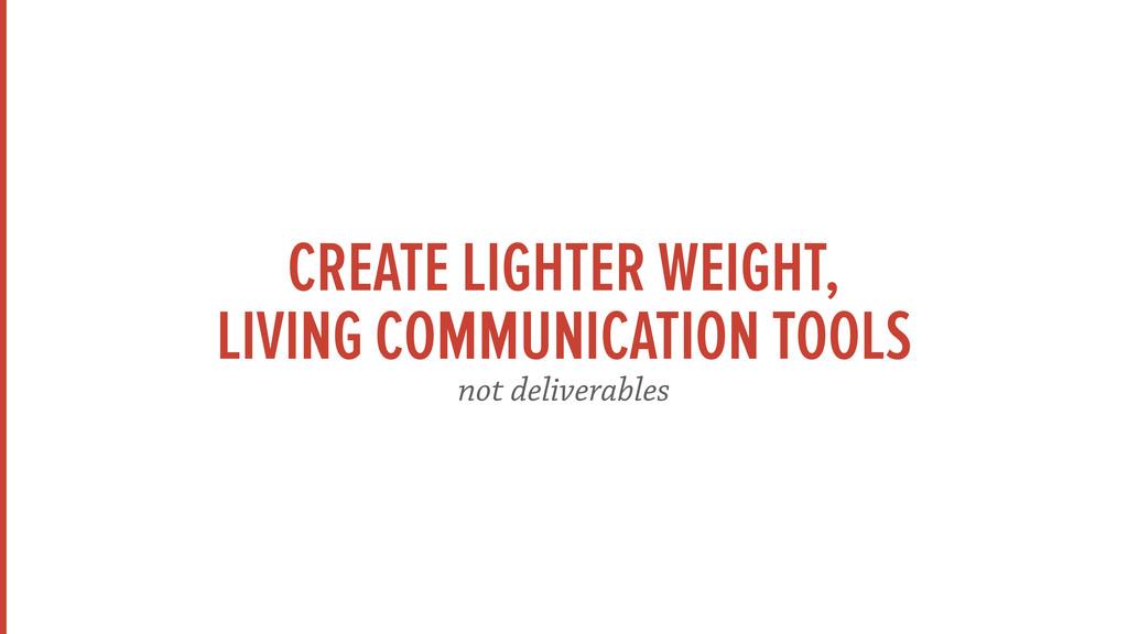 CREATE LIGHTER WEIGHT, LIVING COMMUNICATION TOO...