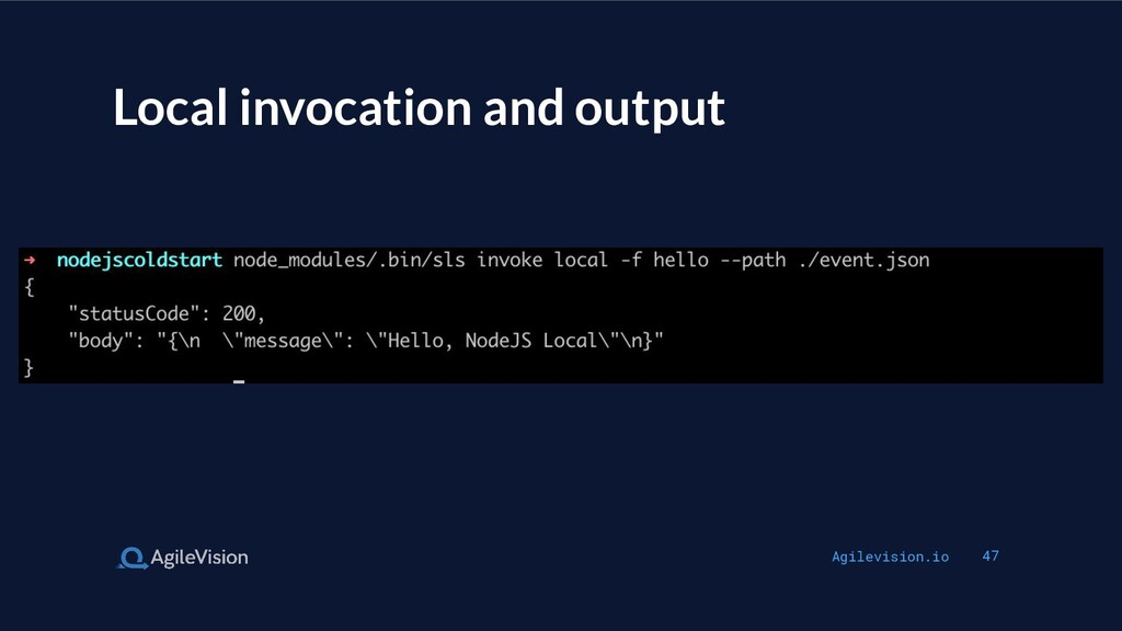 Agilevision.io 47 Local invocation and output