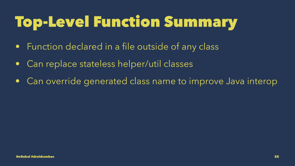 Top-Level Function Summary • Function declared ...