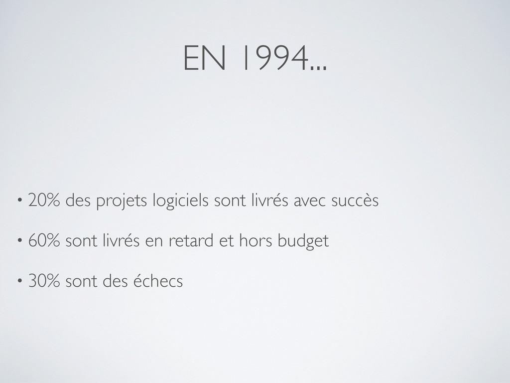 EN 1994... • 20% des projets logiciels sont liv...