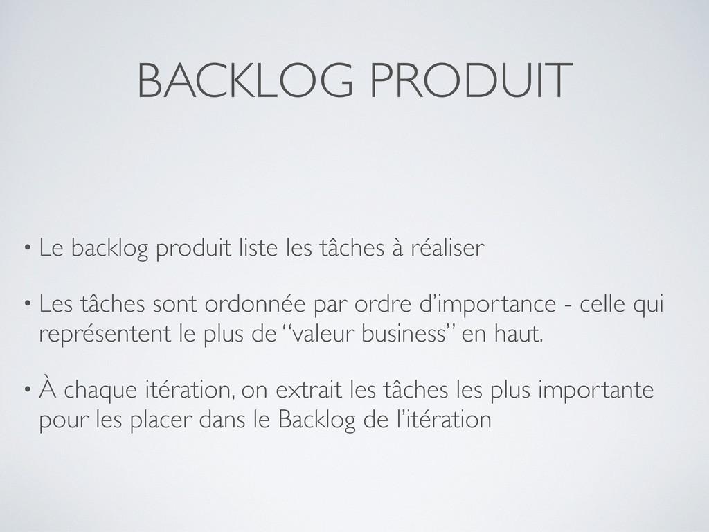 BACKLOG PRODUIT • Le backlog produit liste les ...