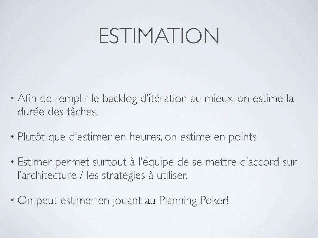 ESTIMATION • Afin de remplir le backlog d'itérat...