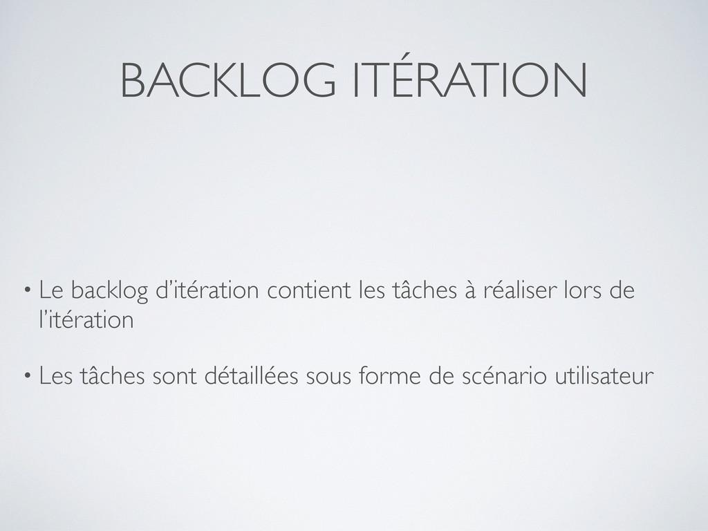 BACKLOG ITÉRATION • Le backlog d'itération cont...