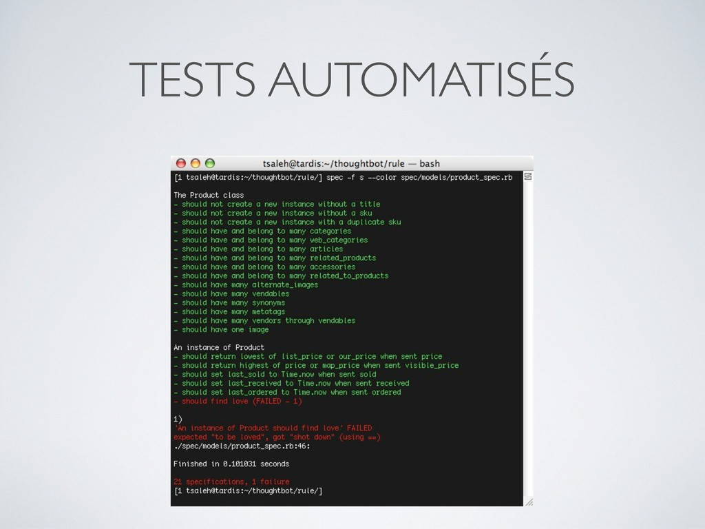 TESTS AUTOMATISÉS