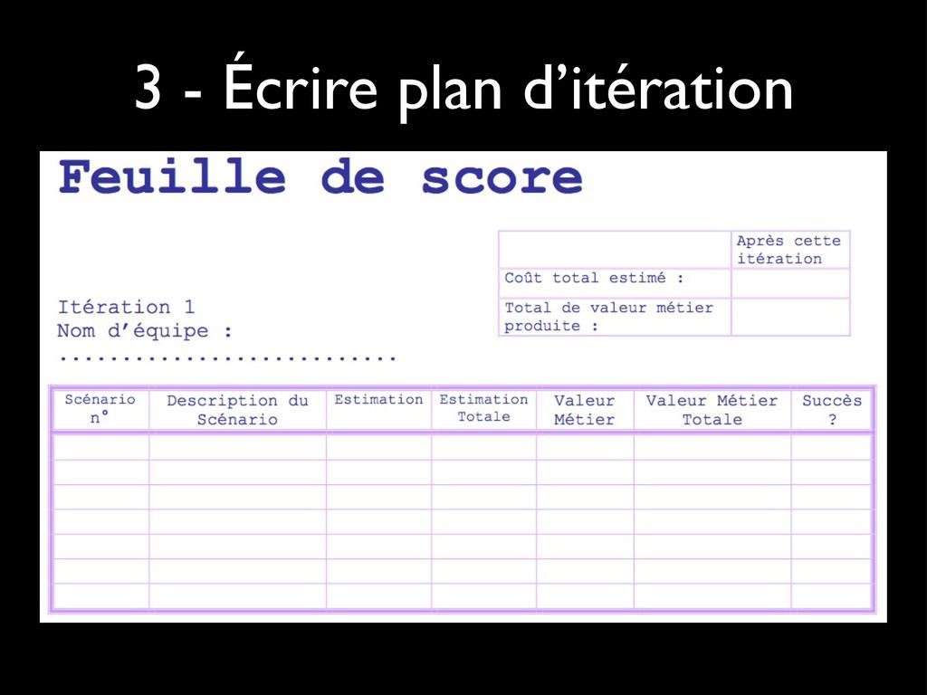 3 - Écrire plan d'itération