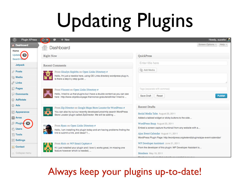 Updating Plugins Always keep your plugins up-to...