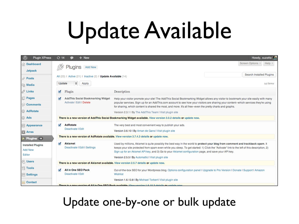 Update Available Update one-by-one or bulk upda...