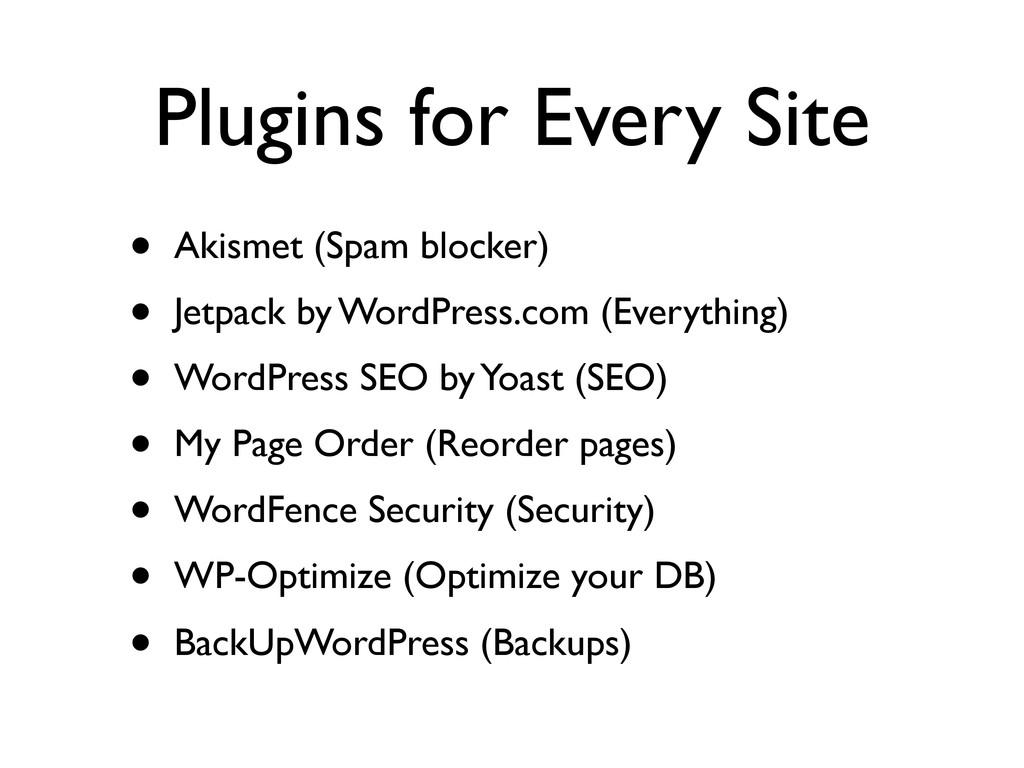 Plugins for Every Site • Akismet (Spam blocker)...