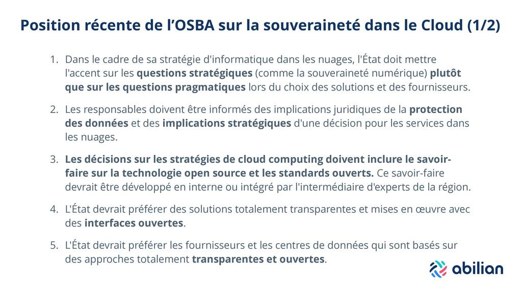 Position récente de l'OSBA sur la souveraineté ...