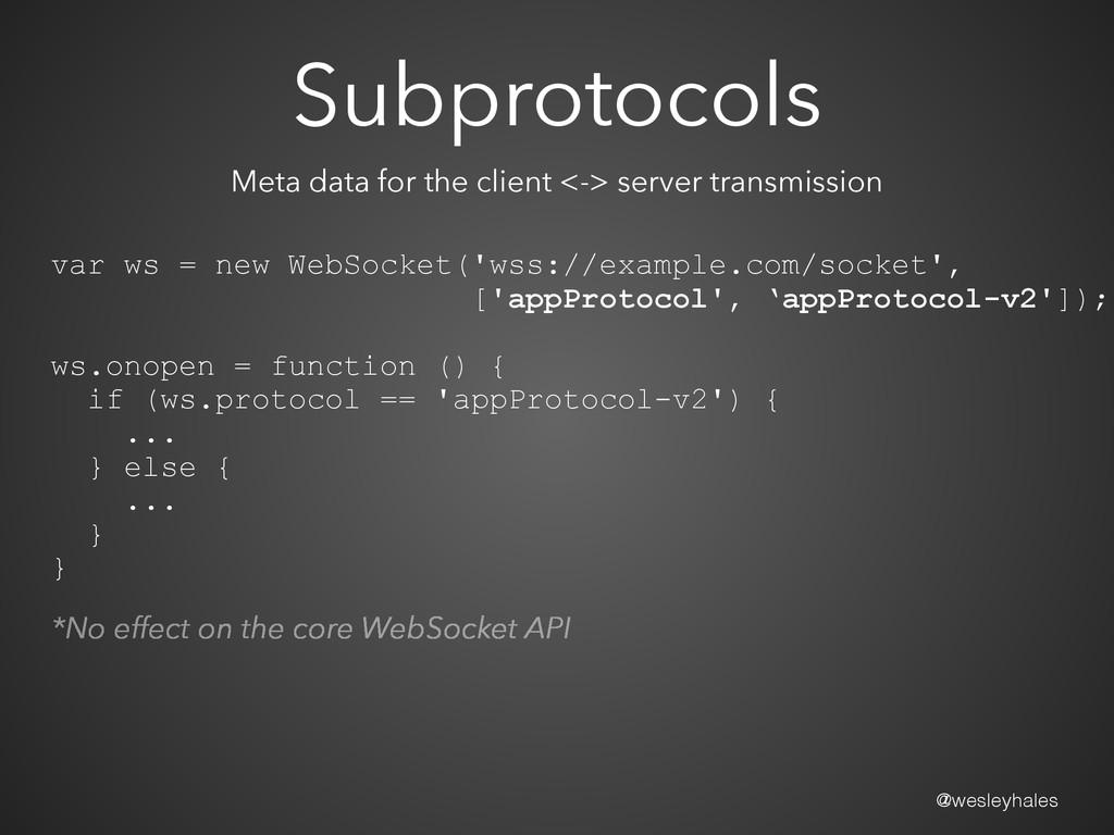 @wesleyhales Subprotocols var ws = new WebSocke...