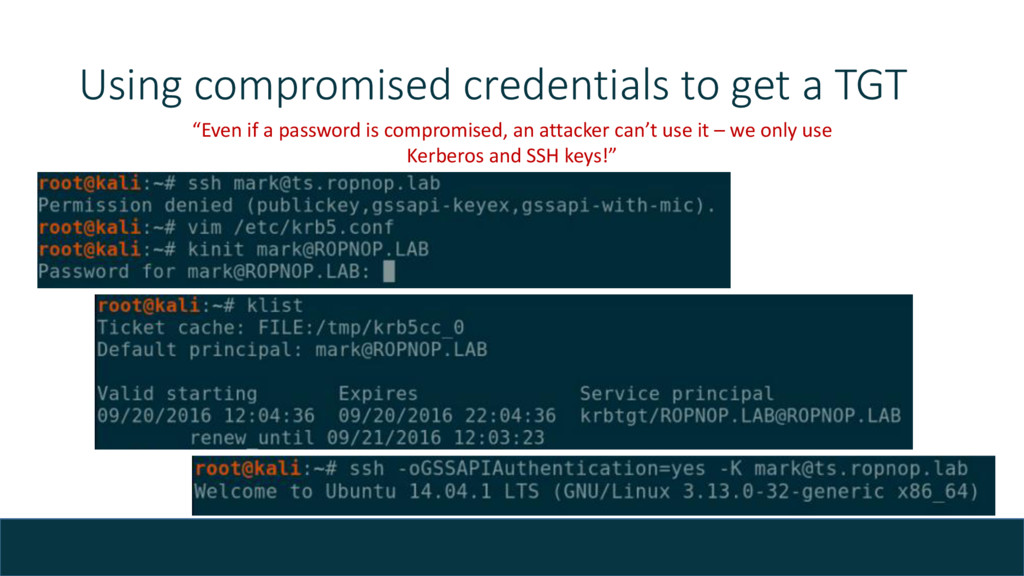 "Using compromised credentials to get a TGT ""Eve..."