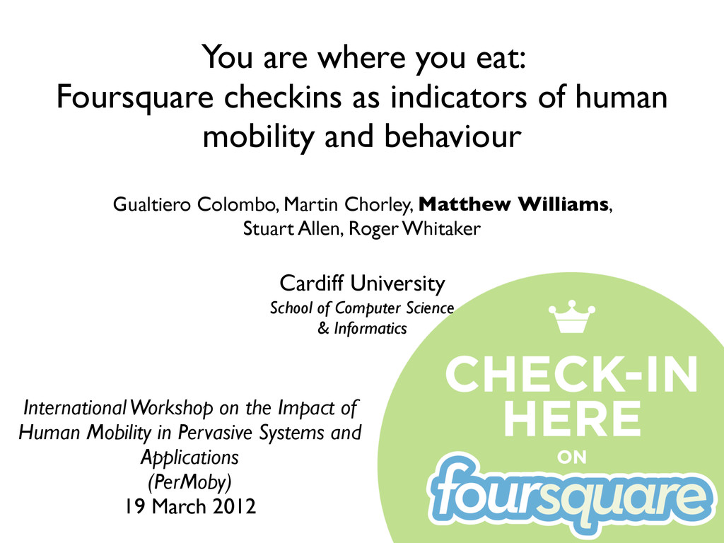 You are where you eat: Foursquare checkins as i...