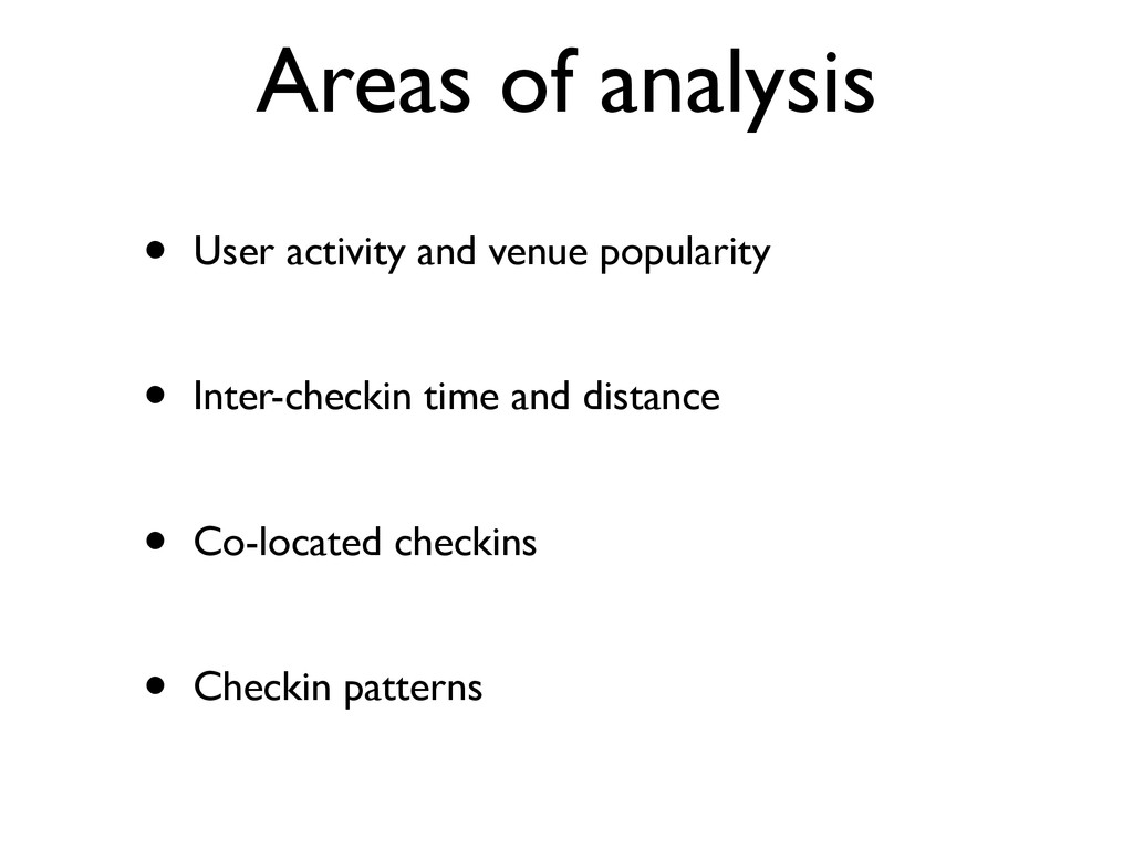 Areas of analysis • User activity and venue pop...