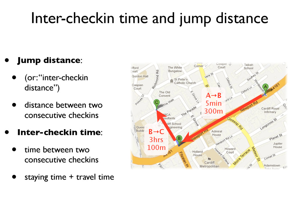 Inter-checkin time and jump distance A→B 5min 3...