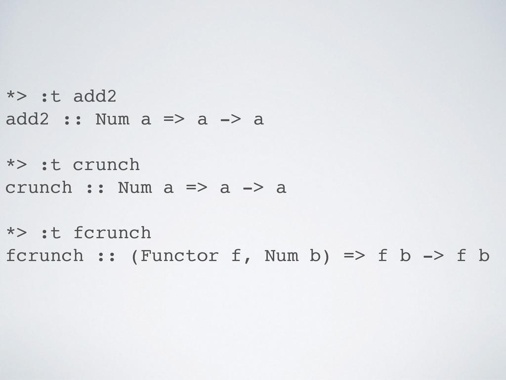 *> :t add2 add2 :: Num a => a -> a *> :t crunch...