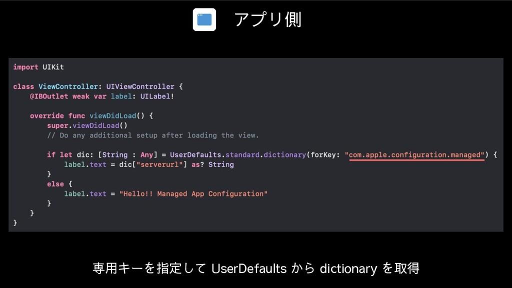 アプリ側 専用キーを指定して UserDefaults から dictionary を取得