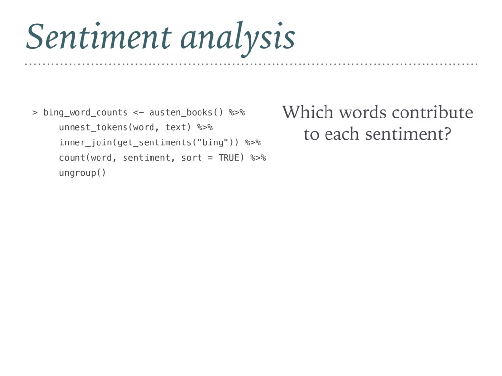 Sentiment analysis Which words contribute to ea...