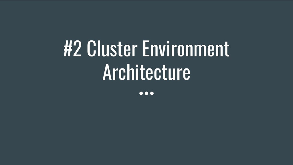 #2 Cluster Environment Architecture