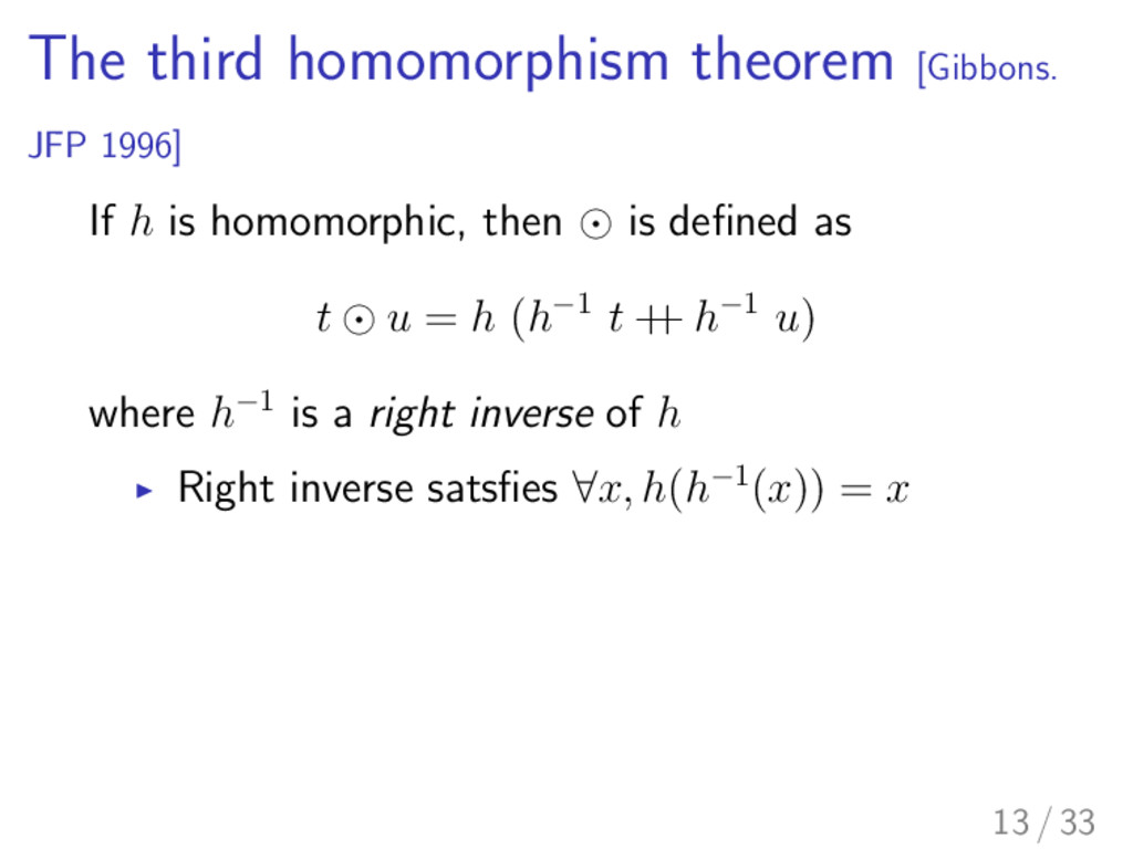The third homomorphism theorem [Gibbons. JFP 19...