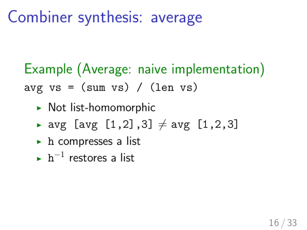 Combiner synthesis: average Example (Average: n...