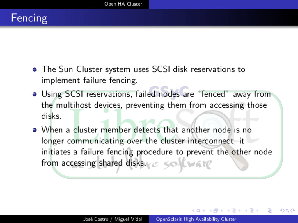 Open HA Cluster Fencing The Sun Cluster system ...