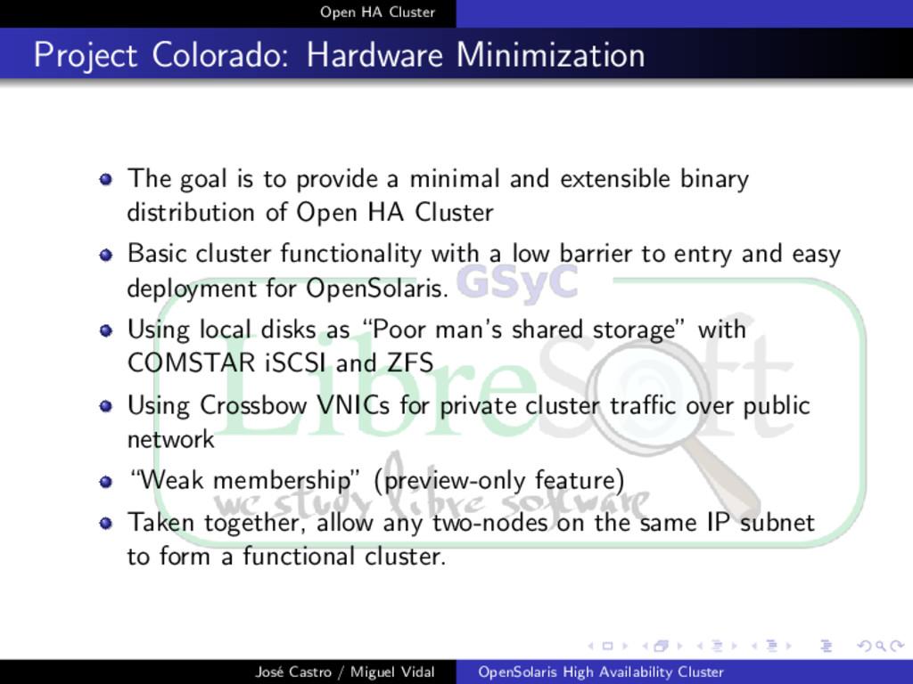 Open HA Cluster Project Colorado: Hardware Mini...