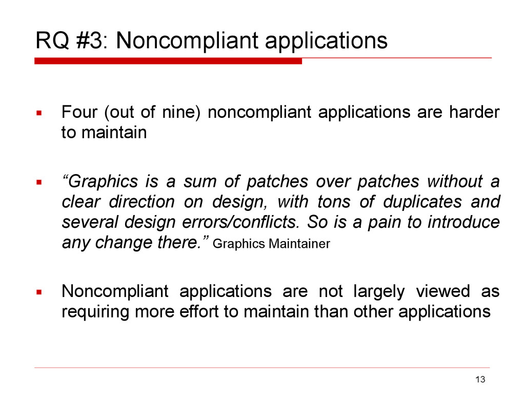 RQ #3: Noncompliant applications ▪ Four (out of...