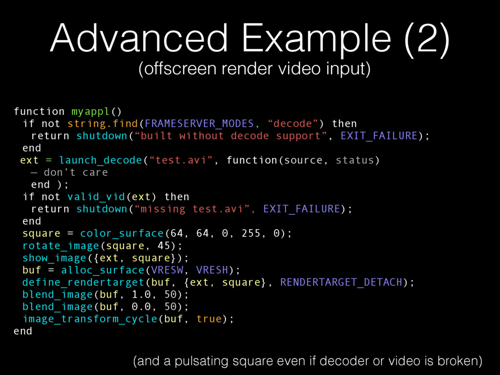 Advanced Example (2) (offscreen render video in...