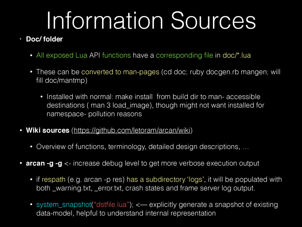 Information Sources • Doc/ folder • All exposed...