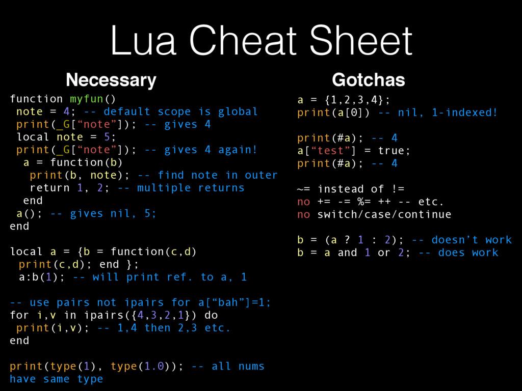 Lua Cheat Sheet function myfun() note = 4; -- d...