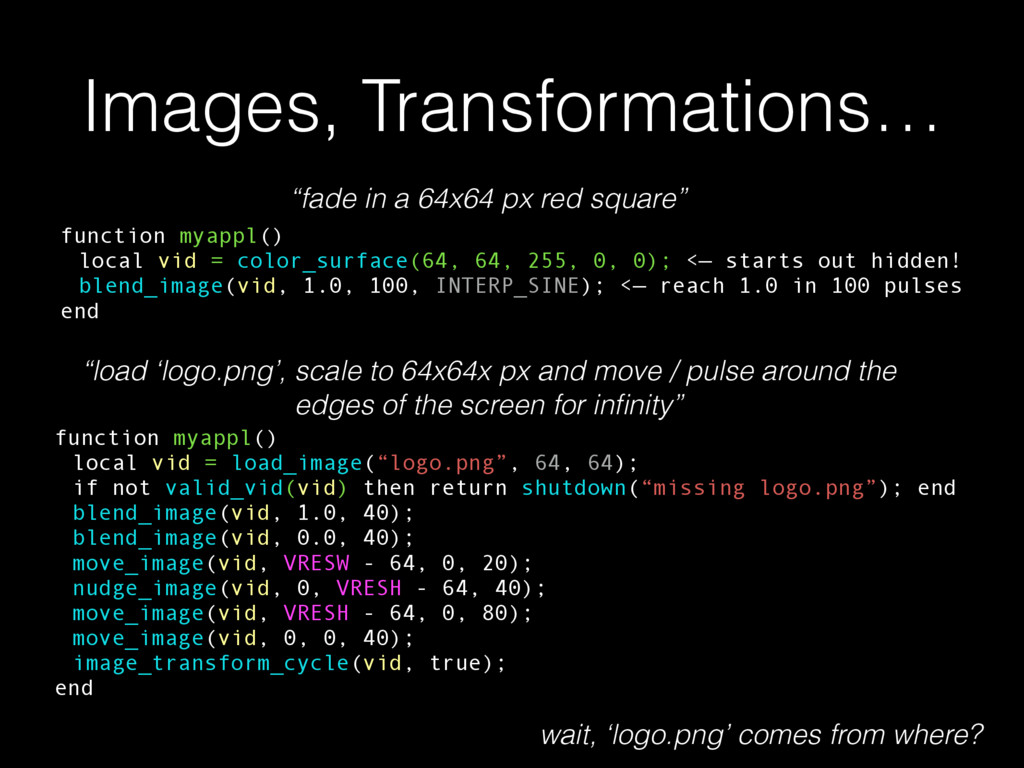 Images, Transformations… function myappl() loca...