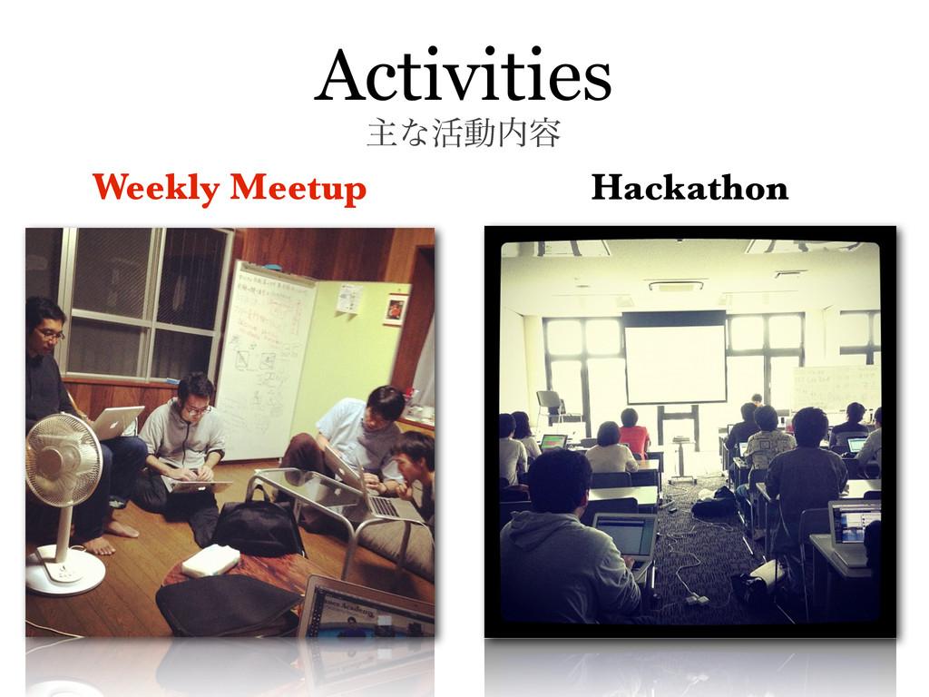 Activities Weekly Meetup Hackathon ओͳ׆ಈ༰