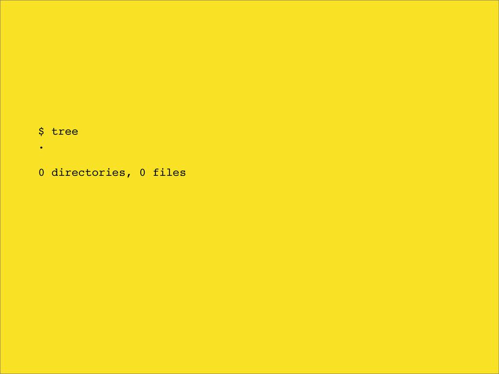 $ tree . 0 directories, 0 files